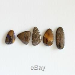 Boulder opal 24.17ct Set of 5 Australian natural solid loose unset stones parcel