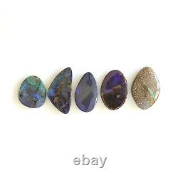 Boulder opal 35.11ct set of 5 Australian natural solid loose stone Winton parcel