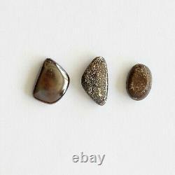 Boulder opal 4.13ct set of 3 Australian natural solid loose stone Winton parcel