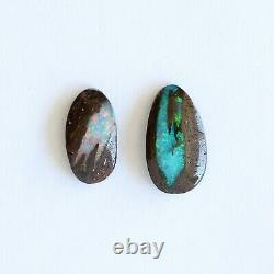 Boulder opal 4.32ct set of 2 Australian natural solid loose stone Winton parcel