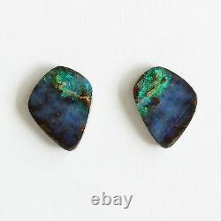 Boulder opal 4.74ct set of 2 Australian natural solid loose stone Winton parcel