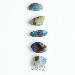 Boulder opal 6.69ct set of 5 Australian natural solid loose stone Winton parcel