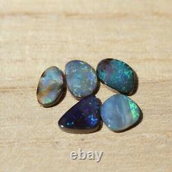 Boulder opal 7.27ct set of 5 Australian natural solid loose stone Winton parcel