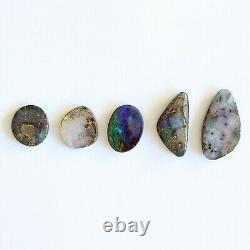 Boulder opal 9.43ct set of 5 Australian natural solid loose stone Winton parcel