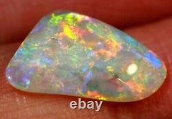 Bright Flash Australian Andamooka Crystal Solid Opal 1.93 ct Green Orange Blue