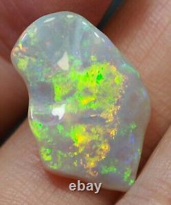 Bright Flash Australian Coober Pedy Crystal Solid Opal 8.34 ct Green Orange Blue