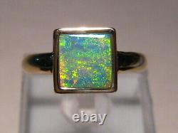 Bright Square shape Australian Opal Ring 14k Yellow, Free Re Size