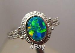 Brilliant Gem Australian Opal and Diamond Ring Solid 14k White gold