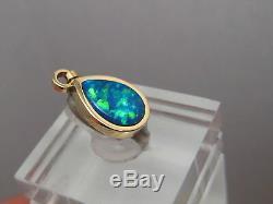 Brilliant Gem Blue & Green color Australian Opal Pendant solid 14 k Yellow gold
