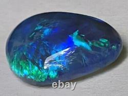 Broadflash! 2.47ct Solid Black Opal GREEN & BLUE Freeform from Lightning Ridge