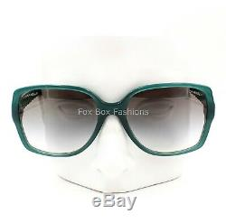 CHANEL 5289Q 1447/S3 Sunglasses Opal Green Brown Quilted Leather Silver CC Logo