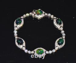 Certified Natural 10.51CTS VS F Diamond Black Green Opal 18K Solid Gold Bracelet
