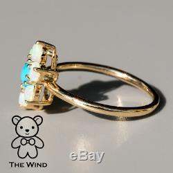 Cherry Blossom Turquoise Australian Solid Opal Engagement Ring 14K Yellow Gold