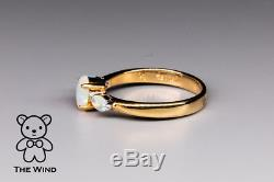 Classic Oval Australian Solid Opal Three-Stone Engagement Ring 18K Yellow Gold