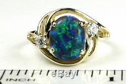 Created Blue Green Opal, Solid 10KY or 14KY Gold Ladies Ring, R021-Handmade