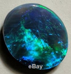 DAZZLING! 3.75ct Solid Black Opal BLUE & GREEN Oval Lightning Ridge