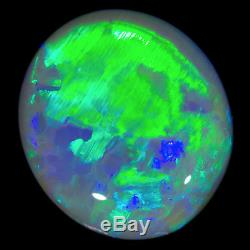 DAZZLING ELECTRIC GREEN-BLUE 2.36ct 10x8mm SOLID SEMI BLACK OPAL LIGHTNING RIDGE