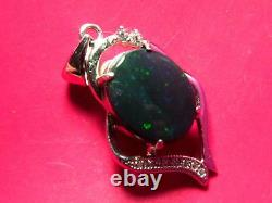 Dark Pinfire Pattern Natural Solid Black Opal 4.1ct and 2.4g 925 Silver Pendant