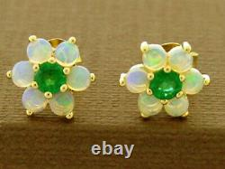 E058 Genuine 9K, 14K or 18K Solid Gold Natural Emerald & Opal Stud Earrings