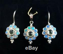 E106 Genuine 9ct Solid Yellow Gold NATURAL Peridot & Opal Blossom Drop Earrings