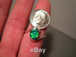 Electric Green Solid Australian Gem Opal inlay Ring sterling silver SIZE 7 3/4