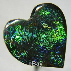 Electric Greens 12ct Australian Solid Black Matrix Boulder Opal Video