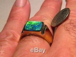 Elegant Mens Black Opal Ring 10.5 grams Solid 14 k Gold