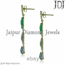 Emerald Opal Dangle Earrings Solid 14k Yellow Gold Natural Diamond Fine Jewelry
