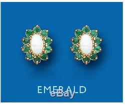 Emerald and Opal Earrings Solid 9 Carat Yellow Gold Studs Natural Stone Cluster