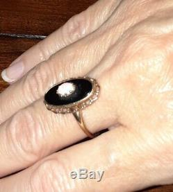 Estate Victorian Style Natural Opal Black Onyx 10K Solid Yellow Gold Ring Size 8