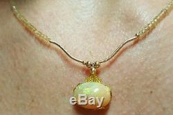 Ethiopian red green yellow Fire Opal cabochon solid 14k gold citrine necklace