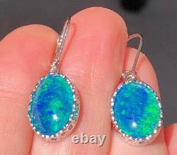 FIRE BOMB of Gorgeous BLUE GREEN Solid Opal Dangle ladies earrings leverback
