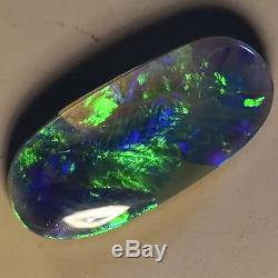 Fiery Greens In This Solid Australian Lightning Ridge Black Opal Stone 12718