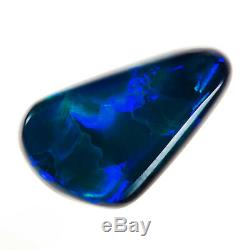 GEM QUALITY SAPPHIRE BLUE GREEN 1.52ct 12x7mm SOLID BLACK OPAL LIGHTNING RIDGE