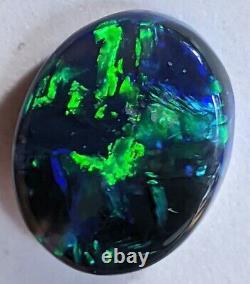 GEMMY! 3.58ct Solid Black Opal BRIGHT GREEN & BLUE Oval Lightning Ridge