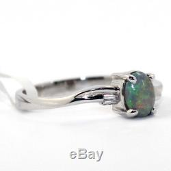 GENUINE AUTHENTIC BLACK OPAL 4x6mm SOLID 18K WHITE GOLD RING Blue, Green