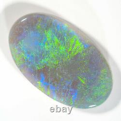 GLORIOUS 5.92ct BLUE GREEN MULTI 17x10mm SOLID SEMI BLACK OPAL LIGHTNING RIDGE