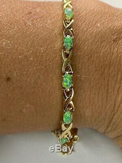 GORGEOUS! 14k Solid Yellow Gold & Green Opal Womens 4mm Tennis Bracelet