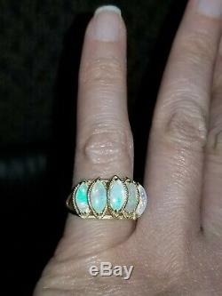 GORGEOUS & COLORFUL 14k SOLID GOLD 2.5ct GENUINE FIRE OPAL MARQUISE RING sz5