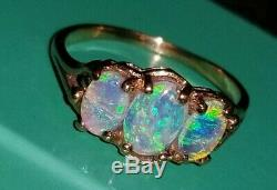 GORGEOUS & COLORFUL 2ct FIRE OPAL TRIO SOLID YELLOW GOLD RING sz7