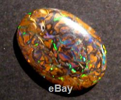 Genuine Australian Boulder Opal Solid Cut Stone Blues greens golds 17x12mm 1956