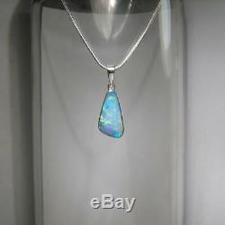 Genuine Australian Natural Opal Pendant Inlay Solid Silver Gem Gift 5.4ct #A05