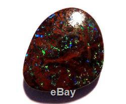 Genuine Australian Queensland Boulder Opal Solid Cut Stone greens 9ct (2342)