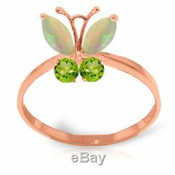 Genuine Opals & Peridot Gems Butterfly Ring Solid 14K. Yellow, White, Rose Gold