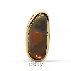 Genuine Solid Black Opal With 18k Yellow Gold Pendant + Free Chain Red