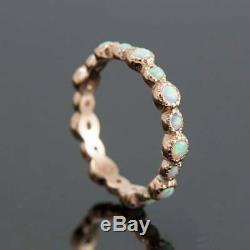 Genuine White Opal Gemstone Ring Solid 14k Yellow Gold Fine Handmade Jewelry New