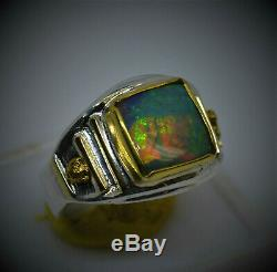 Gold Nugget Sterling Silver Ring Lightning Ridge Green OPAL18K Solid Yellow Gold