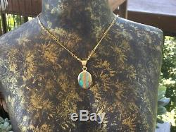 Gorgeous Australian 18 Karat Solid Boulder Opal Pendant Gold, Green & Blue