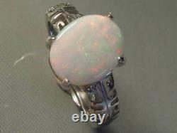 Gorgeous Natural Solid White Opal 2.48ct and 2.6g Sterling 925 Silver Ring