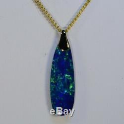 Gorgeous greens Australian boulder opal doublet solid 18k gold pendant (15230)